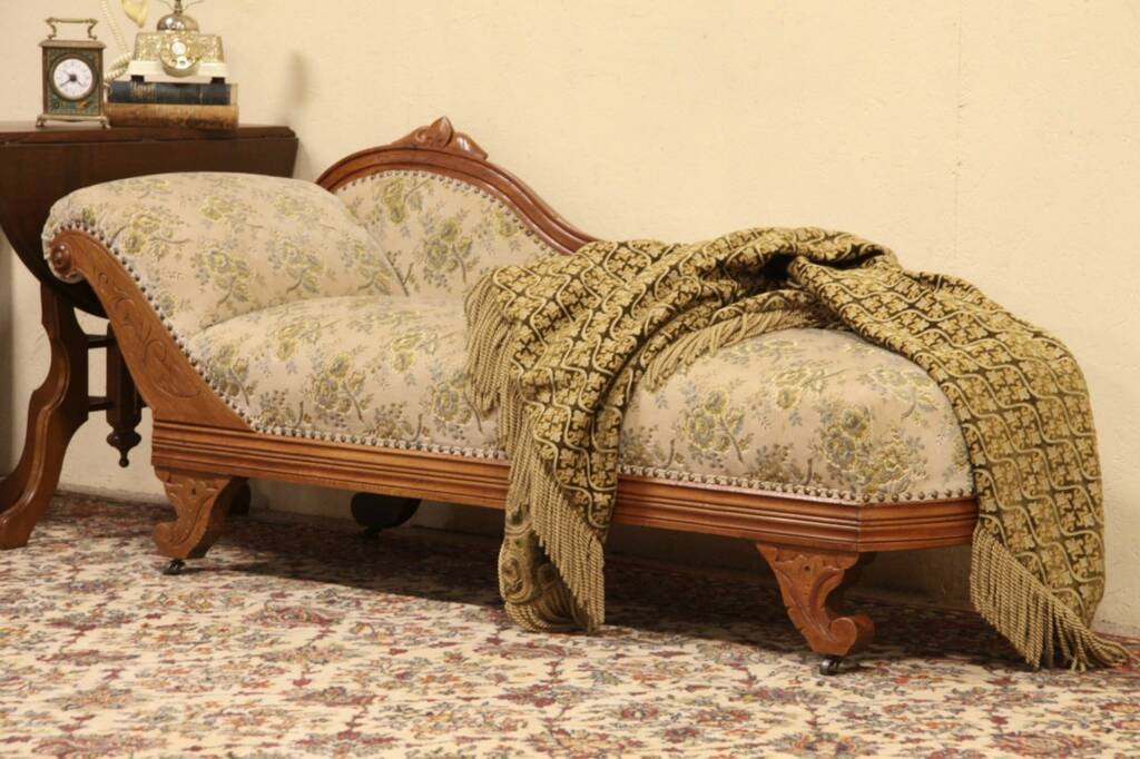 Sold victorian 1875 antique fainting couch chaise or for Antique fainting couch chaise