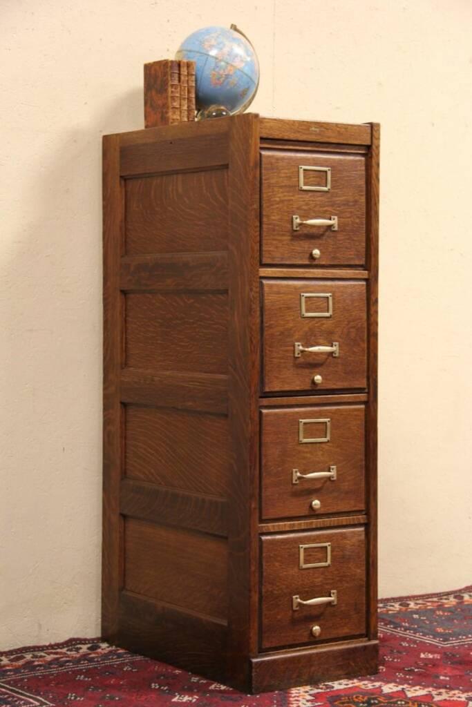 Sold Macey Oak 4 Drawer Antique 1910 File Cabinet