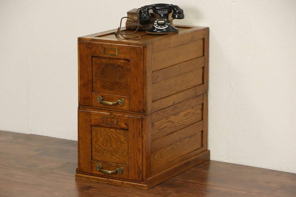 Sold Oak 1910 Antique 2 Drawer File Cabinet Original