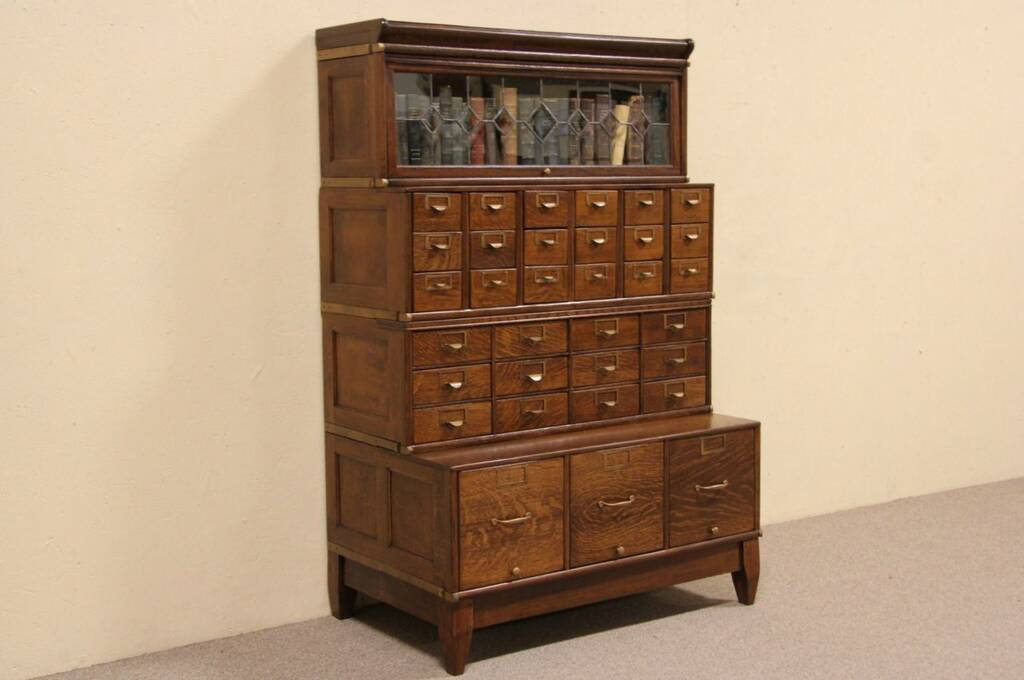 Sold Globe Oak 1900 Leaded Glass Stacking Bookcase Amp 33