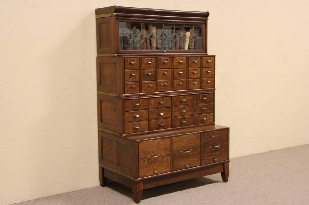 Sold Globe Oak 1900 Leaded Glass Stacking Bookcase Amp 33