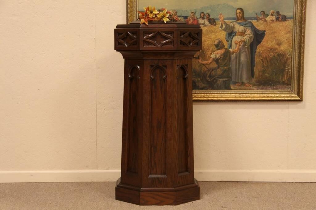 Sold Gothic Carved Oak Baptismal Font Pedestal Harp