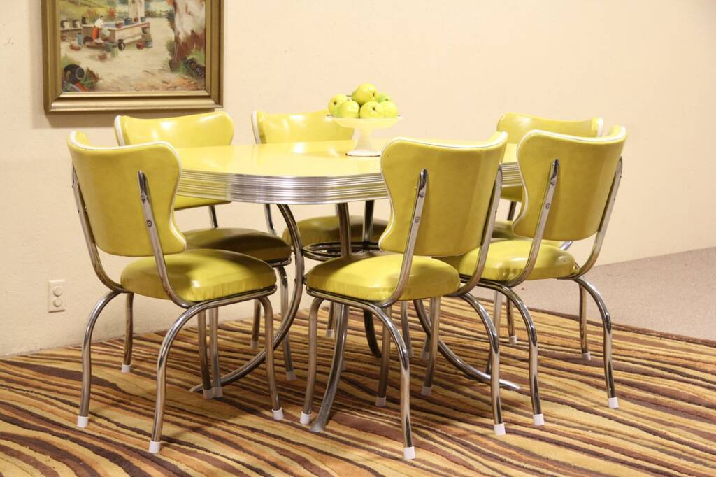 sold midcentury modern chrome formica vintage dining set 6 chairs
