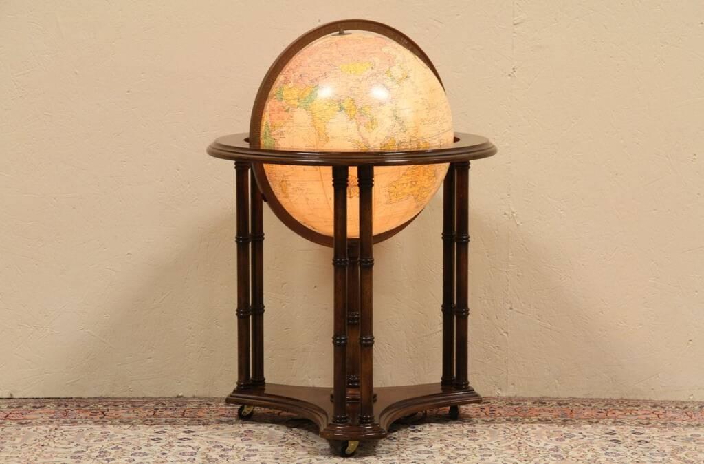 Sold replogle lighted 16 world globe stand harp for 16 inch floor old world bar globe cart