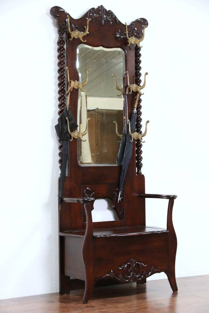 Sold Victorian 1900 Antique Hall Stand Bench Mirror