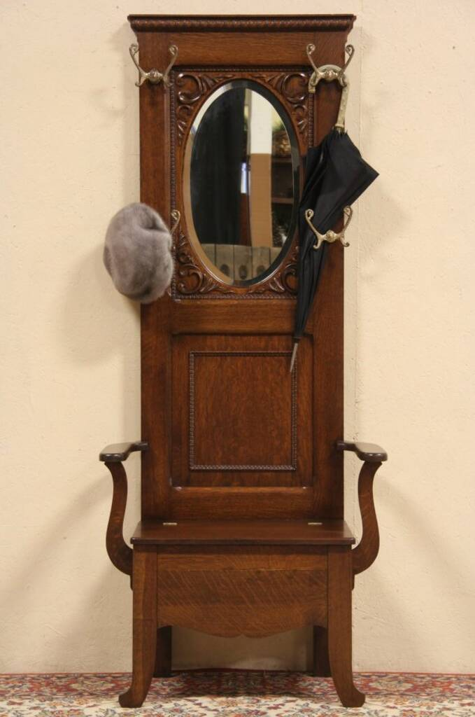 Sold Oak 1900 Antique Hall Stand Beveled Mirror Amp Lift