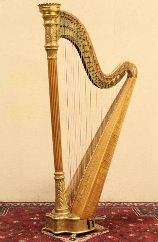 Sold Lyon Amp Healy 1933 Gold Pedal Harp Style 14 Amp Case Harp Gallery Antique Furniture