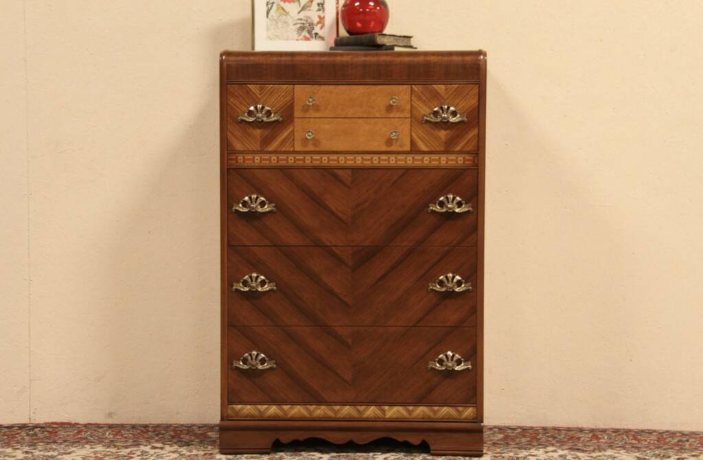 Waterfall 1940 highboy tall chest harp gallery antique furniture