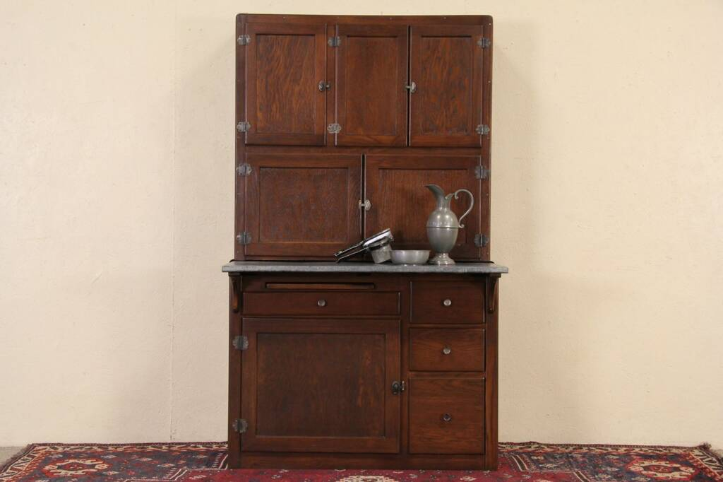 Sold Hoosier 1910 Patent Oak Kitchen Cabinet Original