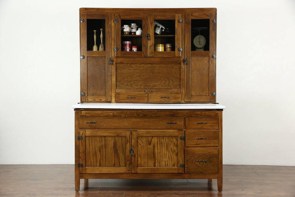 Sold Hoosier Oak Kitchen Pantry Cupboard Roll Top 1915