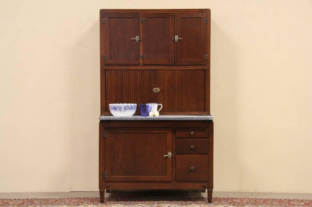 Oak Antique 1910 Hoosier Roll Top Kitchen Cabinet