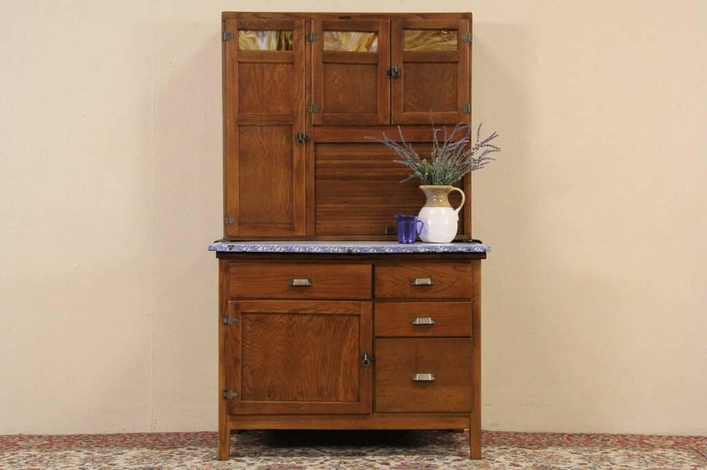 Hoosier Oak 1910 Kitchen Cabinet, Stained Glass