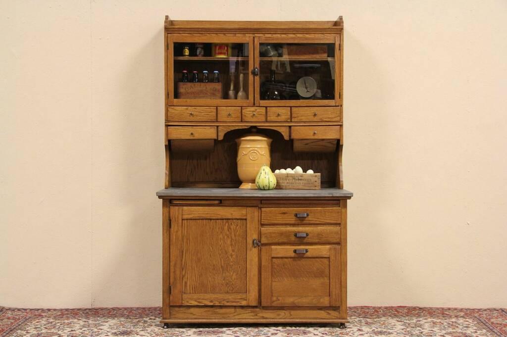 Sold Hoosier Oak 1910 Antique Kitchen Baker Cupboard