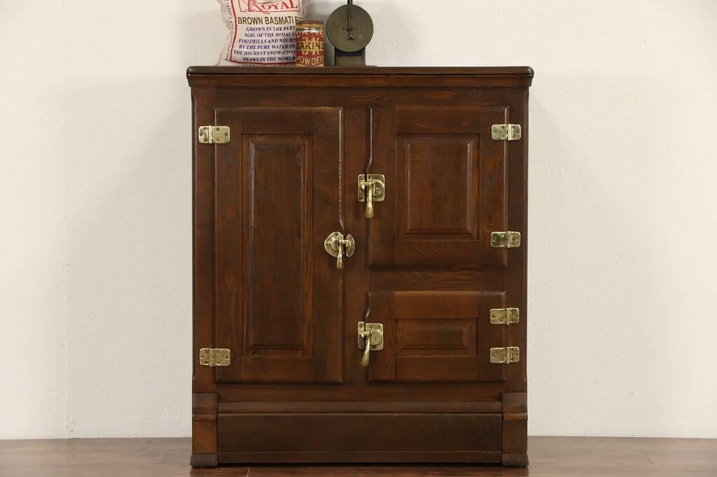Sold Oak 1890 S Antique Pantry Ice Box Refrigerator