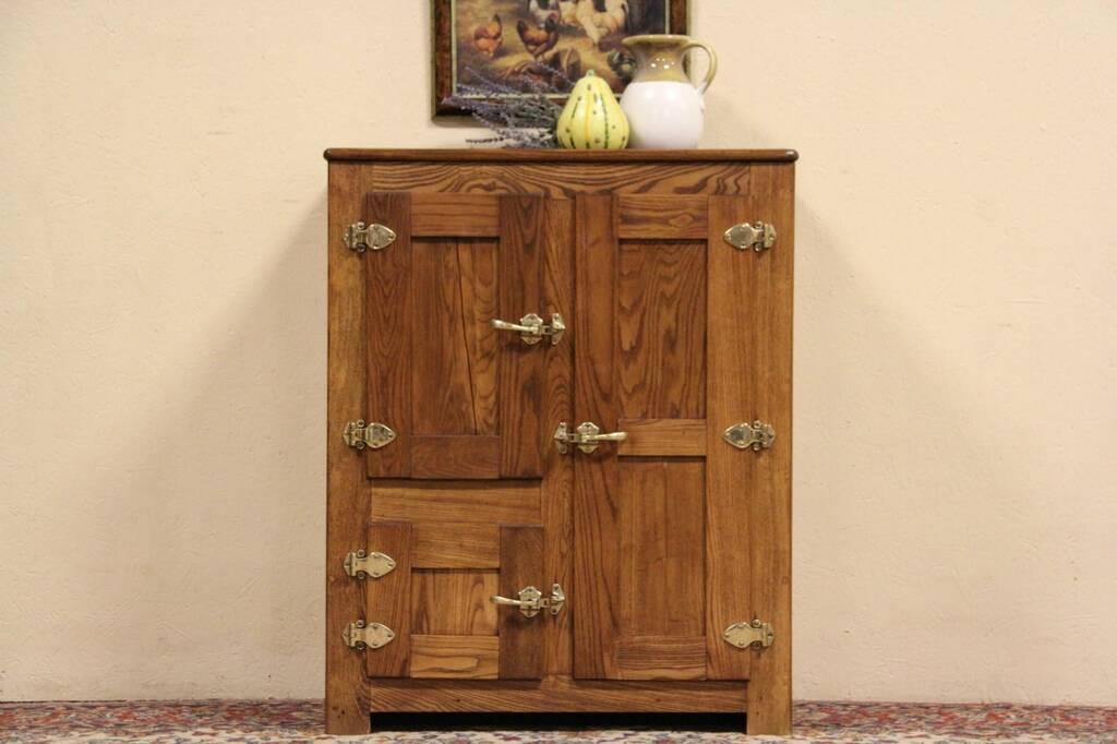sold - oak 1890 antique ice box  original hardware
