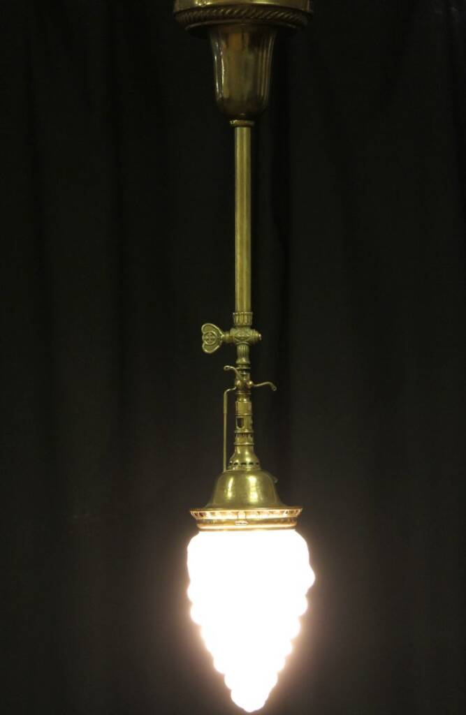 Sold Victorian 1911 Electrified Gas Newel Post Lamp Or
