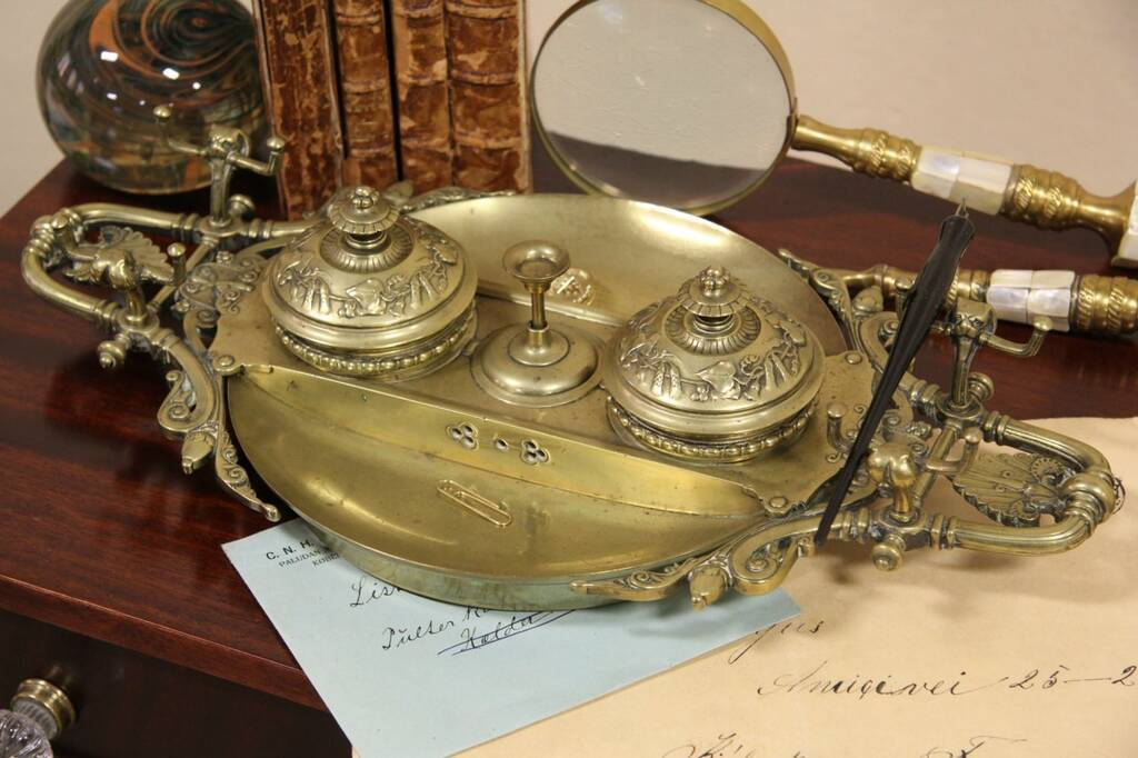 Sold English Brass 1870 Antique Desk Inkwell Set Amp Bell