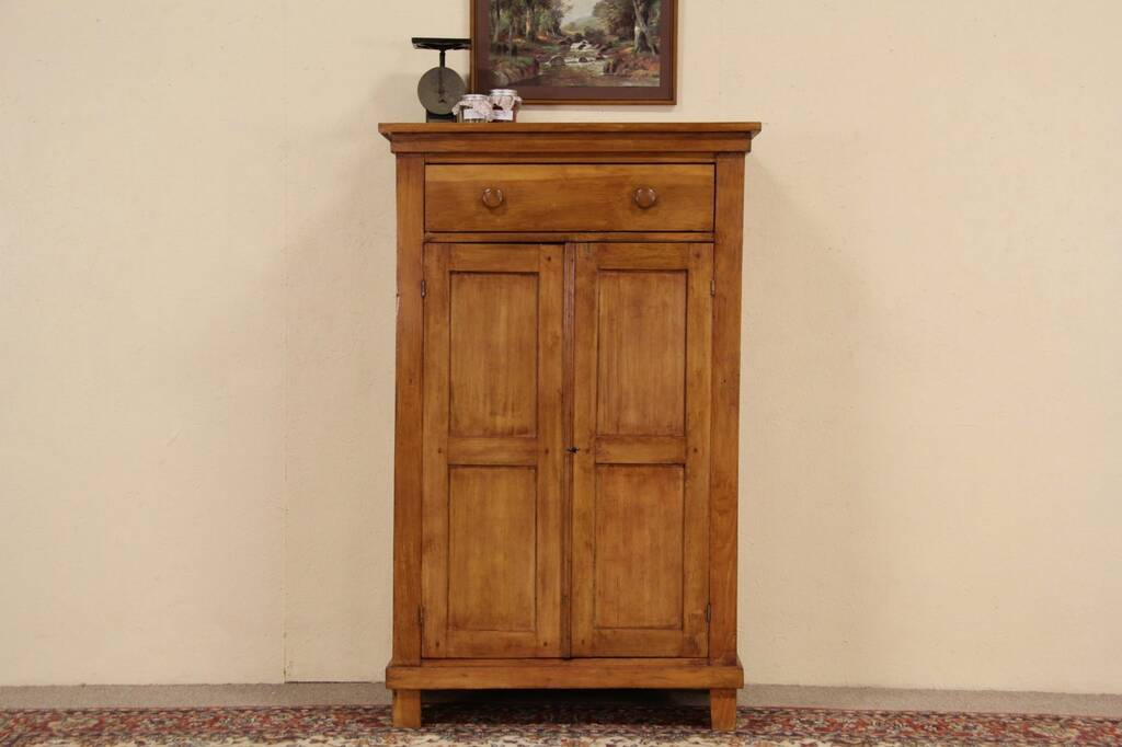 Details about country pine 1870 primitive antique jelly cupboard