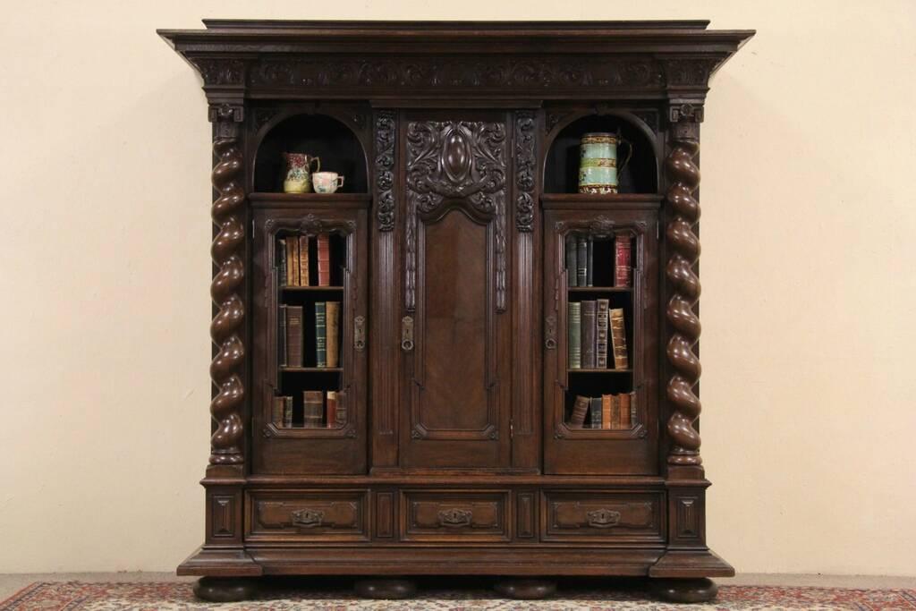 Sold German Renaissance Carved Oak 1910 Antique Bookcase