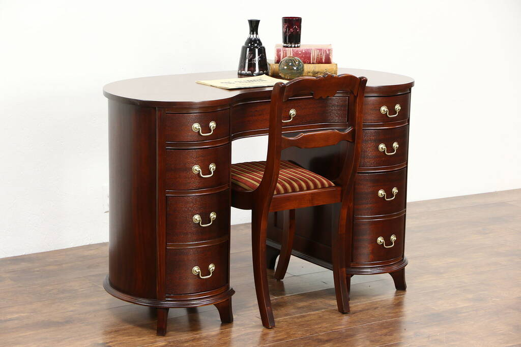Sold Mahogany 1950 Vintage Kidney Desk Amp Chair Library