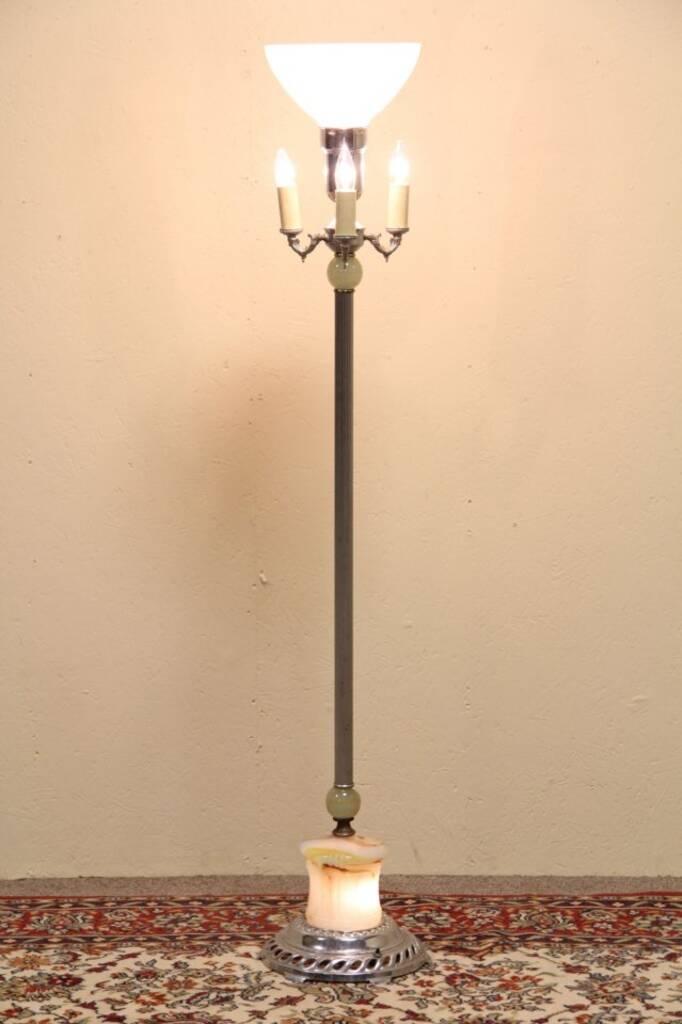 Sold art deco floor lamp lighted slag glass base harp for Antique floor lamp lighted base