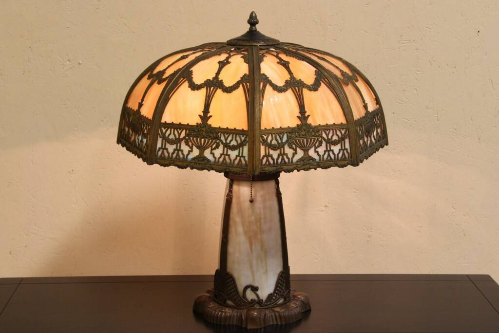 sold stained glass 1920 antique panel lamp harp gallery antique. Black Bedroom Furniture Sets. Home Design Ideas