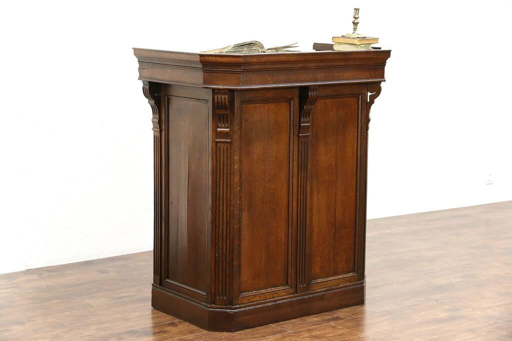 Sold Oak Carved Antique 1895 Restaurant Reception Desk