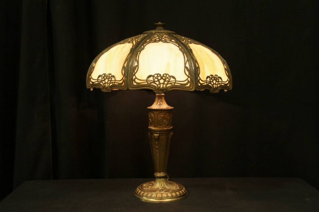 stained glass 1910 antique panel table lamp harp gallery antique. Black Bedroom Furniture Sets. Home Design Ideas