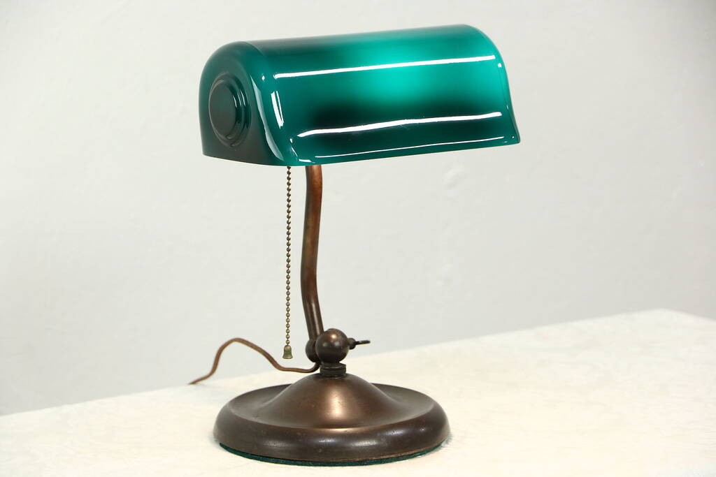 sold verdelite antique banker lamp for rolltop desk or piano green shade pat 1917 harp. Black Bedroom Furniture Sets. Home Design Ideas