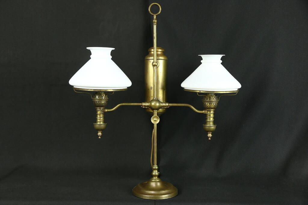 Sold Victorian Antique Double Oil Desk Lamp Milk Glass