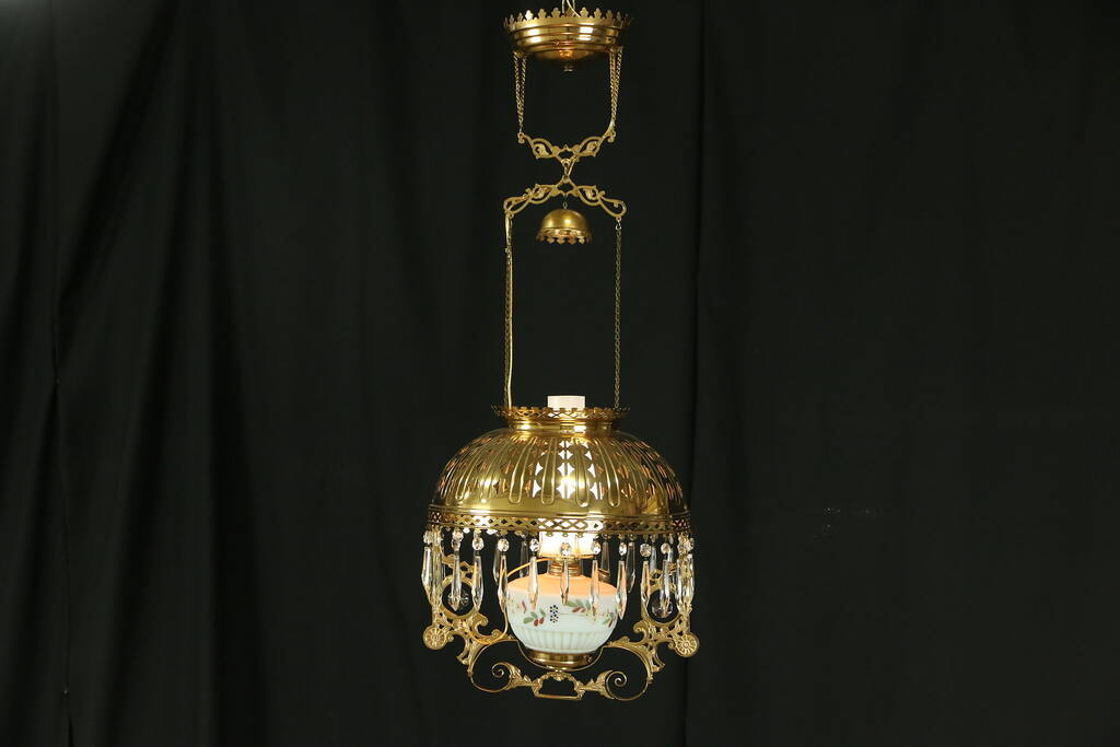 Victorian 1880 Antique Hanging Lamp Brass Shade