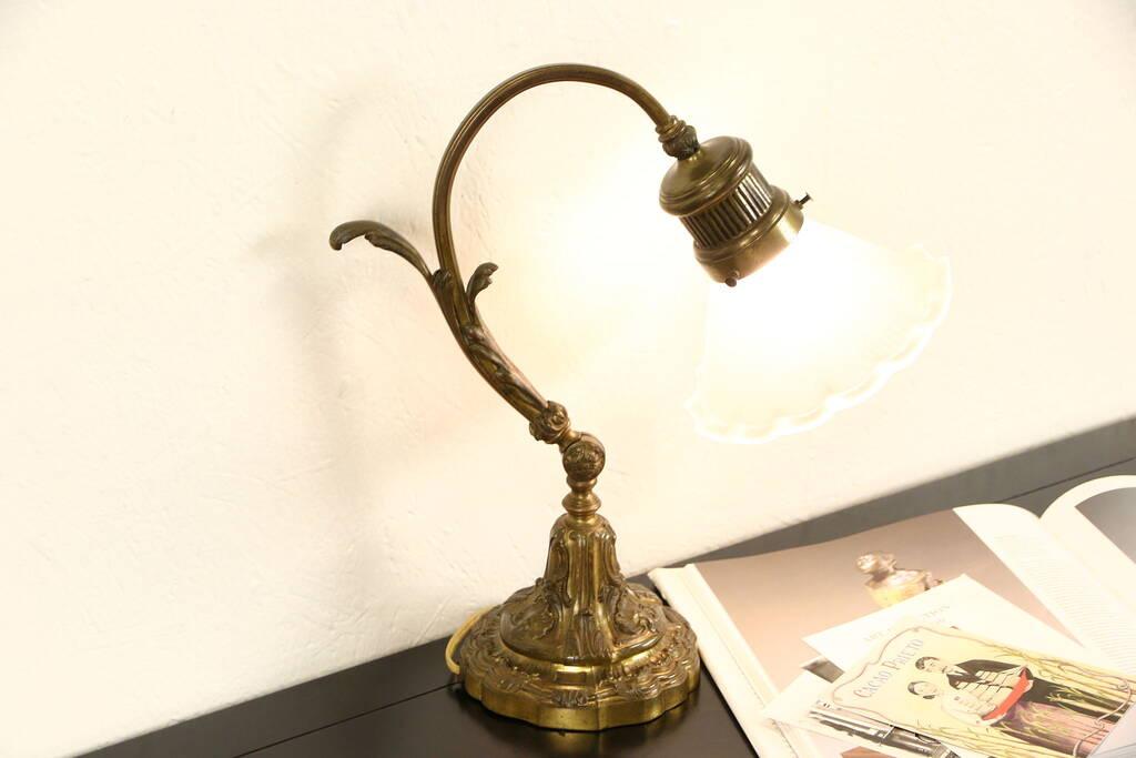 Sold Bronze 1900 Antique Adjustable Desk Lamp Satin