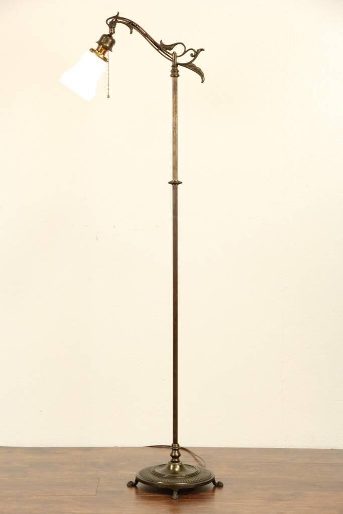 Sold Bridge Floor Reading Lamp 1915 Antique Etched