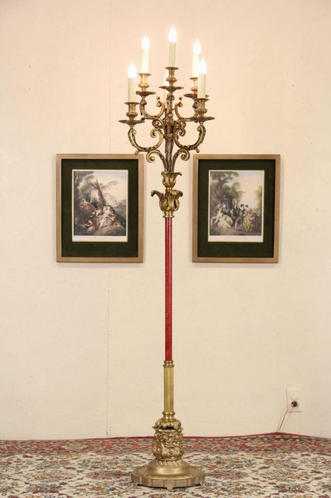 That would Antique candelabra floor lamp metal and wood