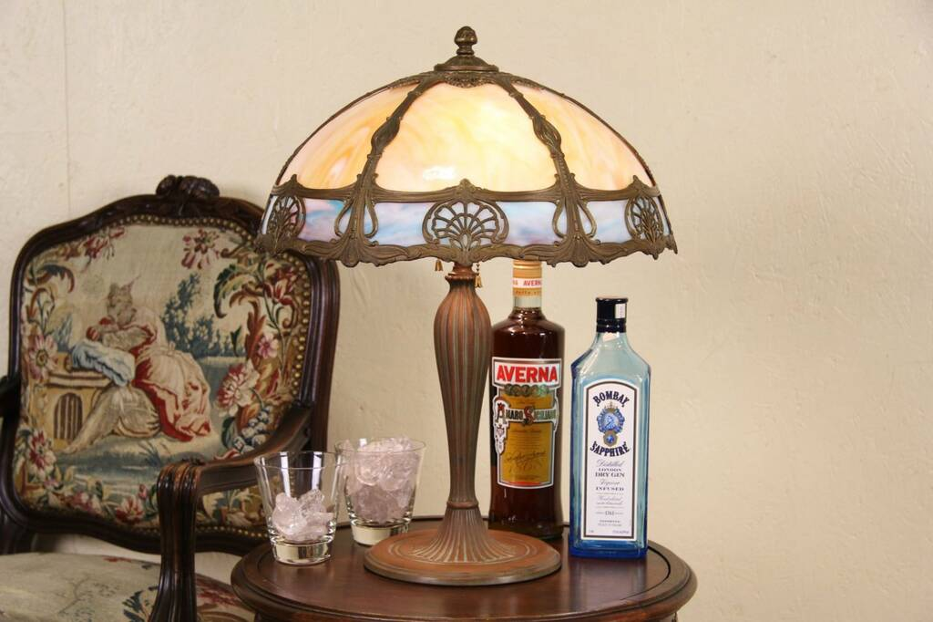 details about table lamp 1915 antique curved stained glass shade. Black Bedroom Furniture Sets. Home Design Ideas