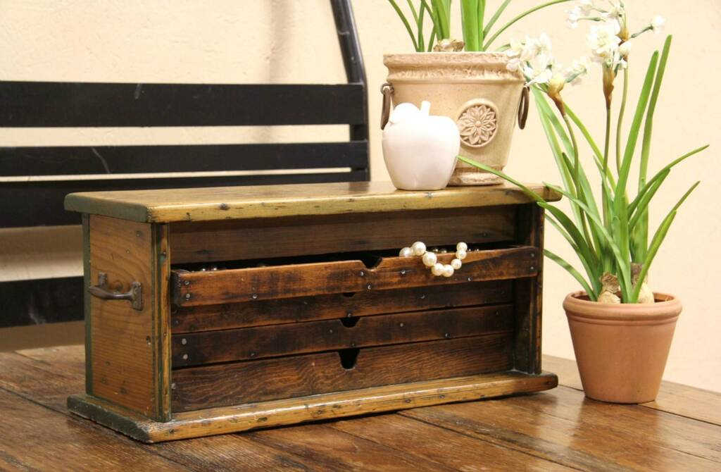 Sold Country Pine Antique 1900 Tool Chest Or Collector