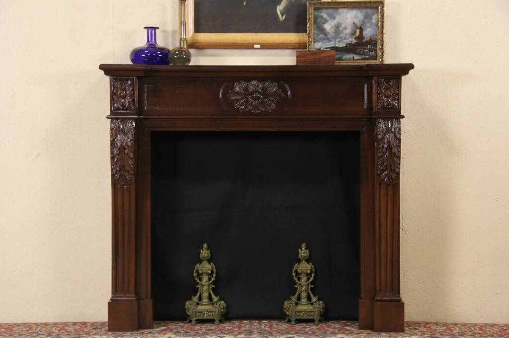 Fireplace Vintage Mantel Surround Hand Carved Mahogany Ebay