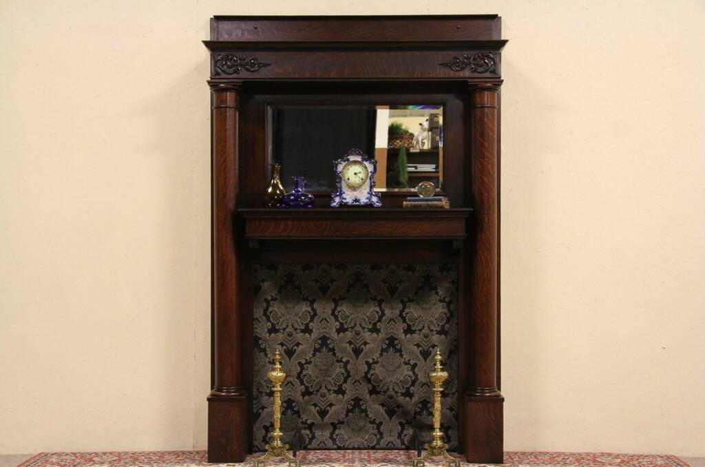 sold oak 1895 fireplace mantel surround architectural