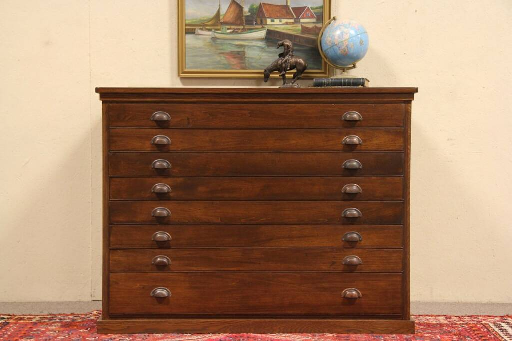 Sold Oak 1890 S Antique 8 Drawer Map Chest Document Or