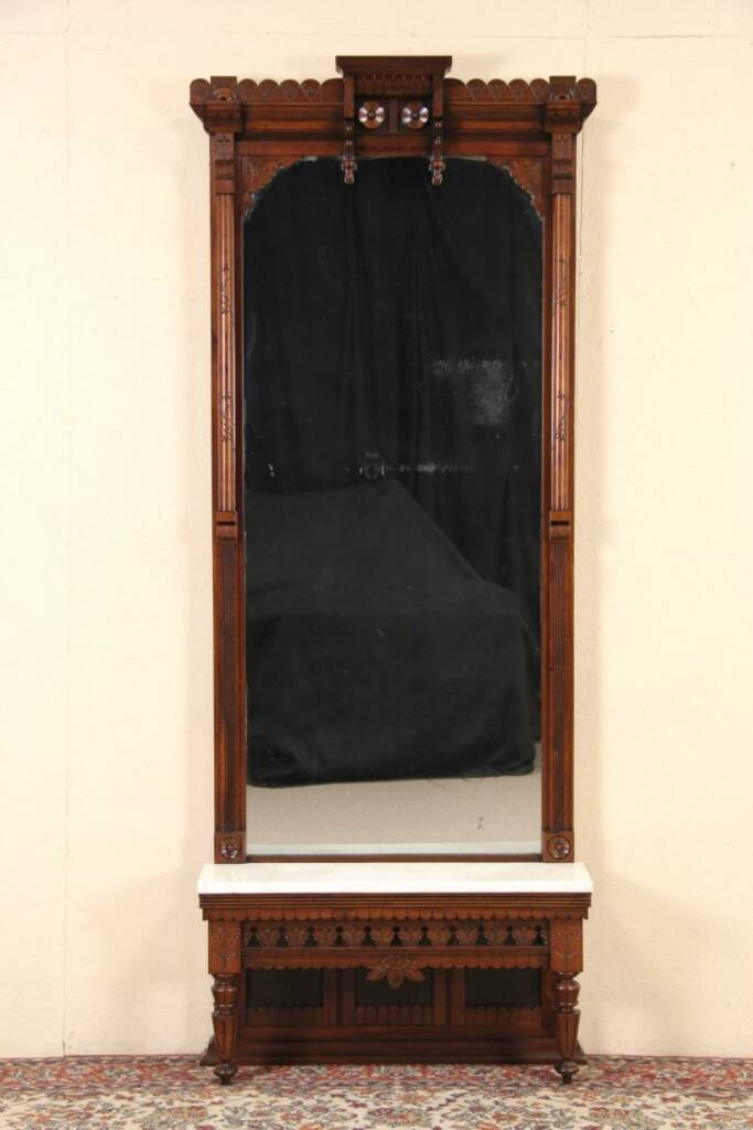 Sold Victorian Eastlake Carved 1885 Hall Pier Mirror