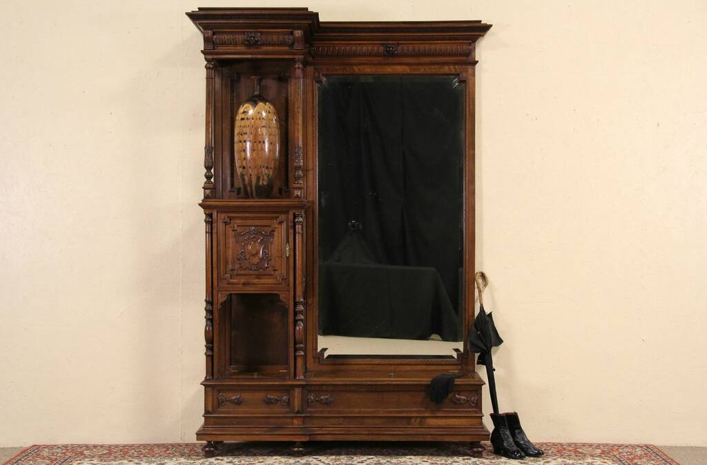 Antique Foyer Mirror : Sold hall foyer or dressing mirror carved s