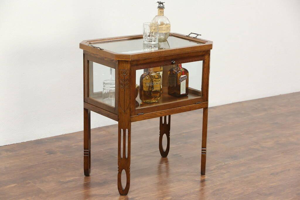 Oak Arts Amp Crafts 1910 Antique Bar Cabinet Amp Glass Tray