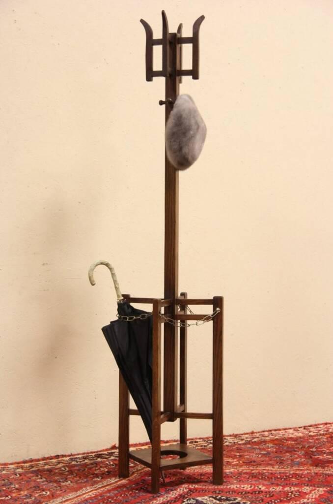 Arts Amp Crafts Mission Oak 1905 Hall Umbrella Stand Coat