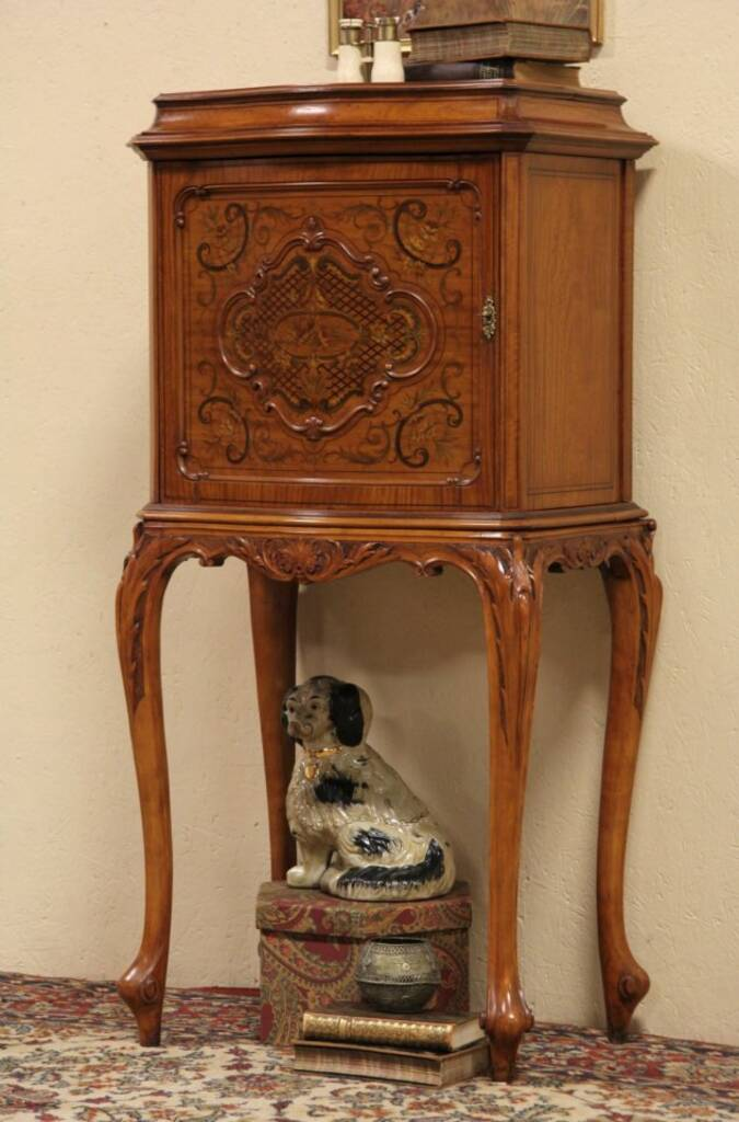 Sold 1915 Antique Marquetry Satinwood Music Cabinet