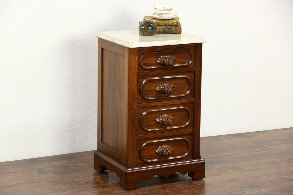 Sold Victorian Style Vintage Carved Walnut Nightstand Or