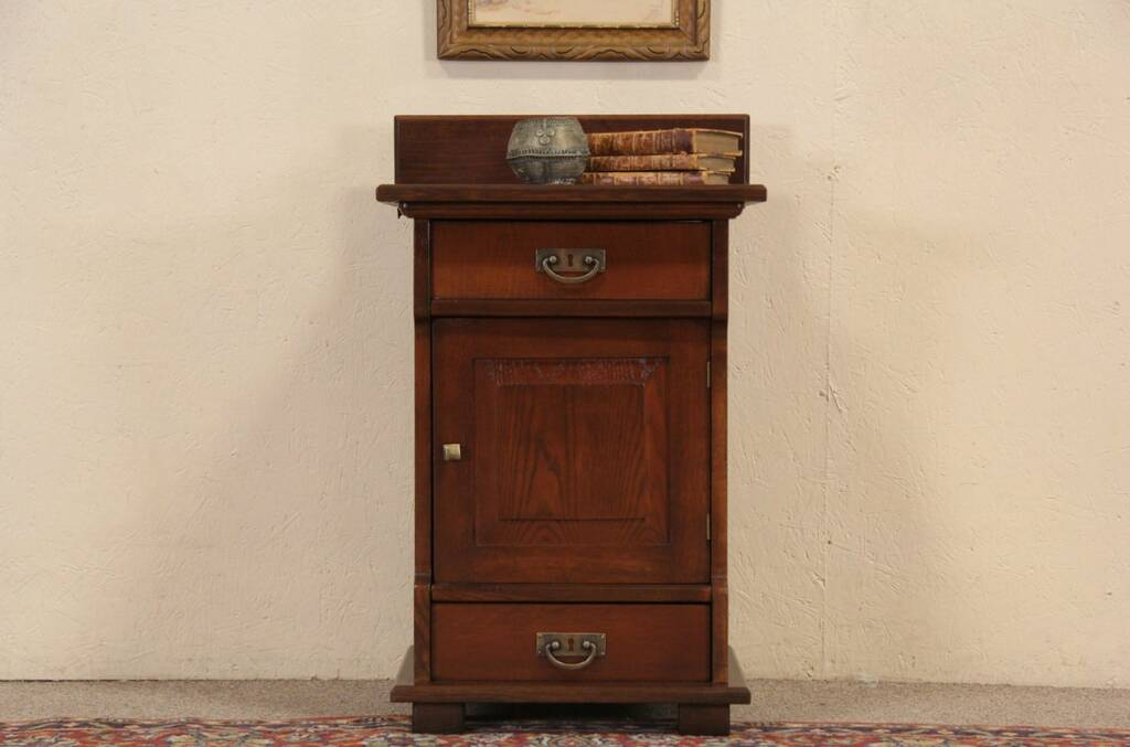 Sold Oak 1900 Antique Nightstand Signed Milwaukee Harp Gallery Antique Furniture