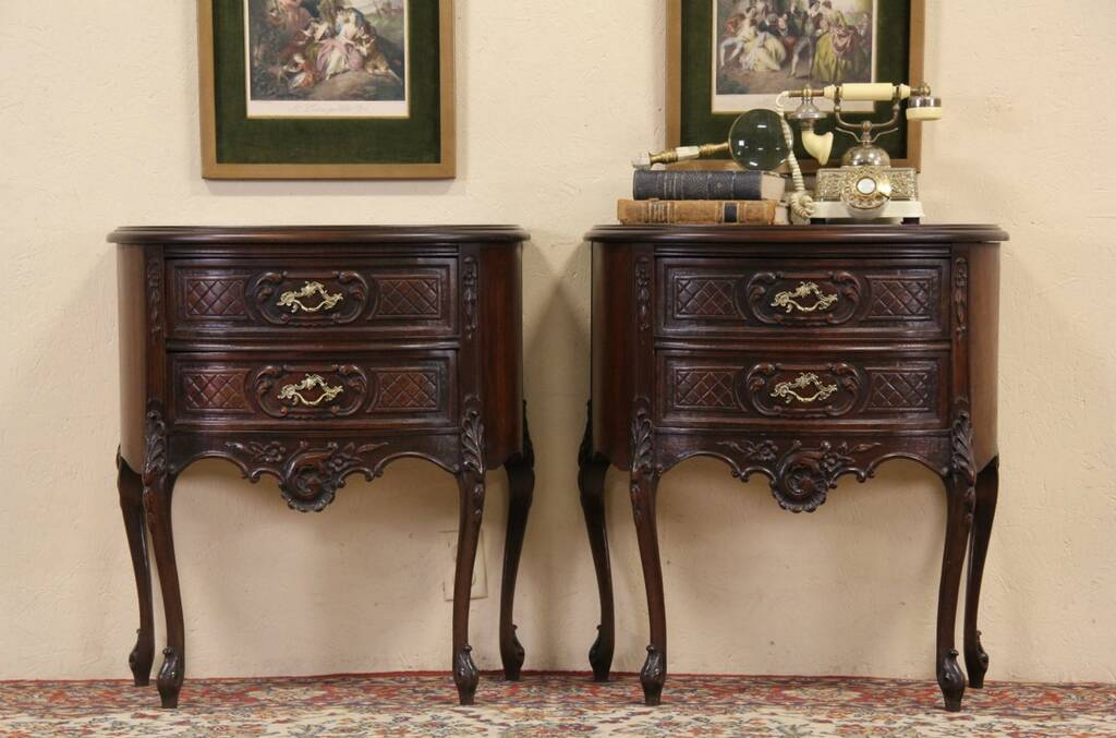 Pair Of 1930's Demilune Nightstands, End Or Bedside