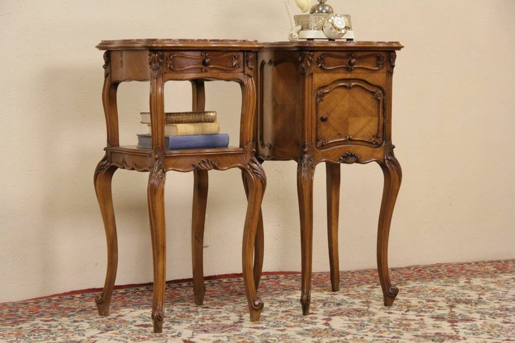 Sold french pair 1900 antique carved walnut marble top for French nightstand bedside table
