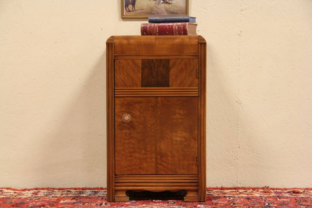 SOLD Art Deco 1940 Waterfall Nightstand Or End Table Harp Gallery