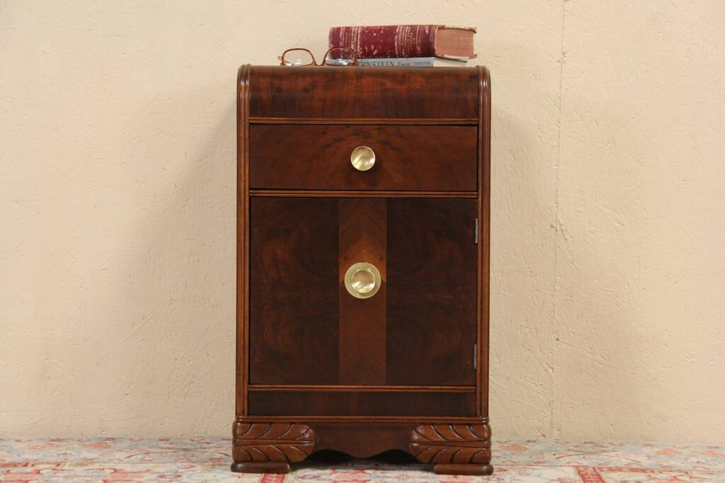 Sold Art Deco Waterfall 1935 Nightstand Or End Table